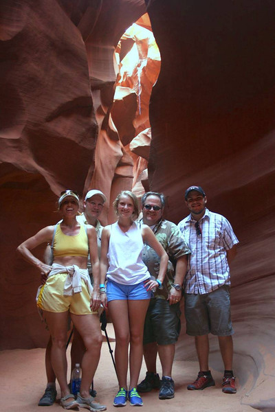 I cant take photo credit, and was not even taken on my camera. This was in the lower Antelope canyon, and taken by our indian guide.  This was the group.  Kari Carrio, Louis Carrio, Kelli Carrio, Me, Andrew Crisp.