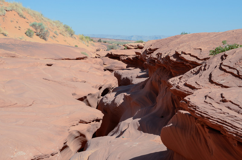 "This is the entrance to the slot canyon called ""Lower Antelope""."