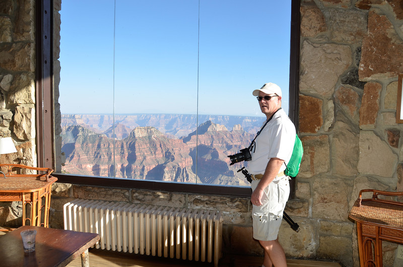 Louis looking at the view from the lodge.
