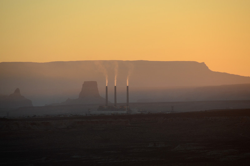 Sunrise over the Navajo power plant.