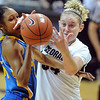 "Colorado UCLA NCAA Women396.JPG Rebekah Gardner, left of UCLA, and Jen Reese of Colorado struggle for a rebound during the second half of the January 29, 2012 game in Boulder. <br /> For more photos of the game, go to  <a href=""http://www.dailycamera.com"">http://www.dailycamera.com</a>.<br /> January 29, 2012 / Cliff Grassmick"