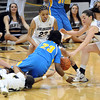 "Colorado UCLA NCAA Women381.JPG Markel Walker (23) of UCLA, tries to keep a loose ball from Chucky Jeffery and Meagan Malcom-Peck of CU during the second half of the January 29, 2012 game in Boulder. <br /> For more photos of the game, go to  <a href=""http://www.dailycamera.com"">http://www.dailycamera.com</a>.<br /> January 29, 2012 / Cliff Grassmick"