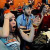 "Colleen Kintzley, left, reacts to a big play  against Denver in the Broncos-Steelers game on Sunday at the Lazy Dog Saloon in Boulder.<br /> For a video of the Bronco fans, got to  <a href=""http://www.dailycamera.com"">http://www.dailycamera.com</a>.<br /> January 8, 2012 / Cliff Grassmick"