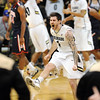 "Colorado Arizona Men238.JPG Nate Tomlinson (1) of CU, celebrates the 1-point win over Arizona on Saturday.<br /> For more photos of the game, go to  <a href=""http://www.dailycamera.com"">http://www.dailycamera.com</a>.<br /> January 21, 2012 / Cliff Grassmick"