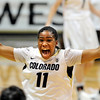 "Brittany Wilson of Colorado runs off the court celebrating as the Buffs hold on to beat Villanova 48-47.<br /> during the second half of the March 22, 2012 game in Boulder. <br /> For more photos of the game, go to  <a href=""http://www.dailycamera.com"">http://www.dailycamera.com</a>.<br />  Cliff Grassmick / March 22, 2012"