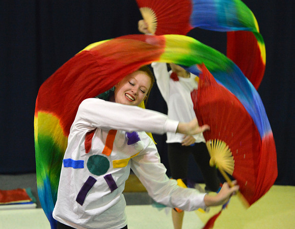 """Corrynn Johnson, 15, performs a dance about rainbows during the Children Dance Theater's production of """"A Science Adventure on the Magic School Bus"""" at Emerald Elementary School on Friday.<br /> September 21, 2012<br /> staff photo/ David R. Jennings"""