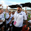 "Peak to Peak High School Head Coach Peter Chandler reacts after having cold water dumped on him by his team after winning the Class 3A State Championship against Colorado Academy on Tuesday, May 22, at Dick's Sporting Goods Park in Commerce City. Peak to Peak won 2-1. For more photos of the game go to  <a href=""http://www.dailycamera.com"">http://www.dailycamera.com</a><br /> Jeremy Papasso/ Camera"