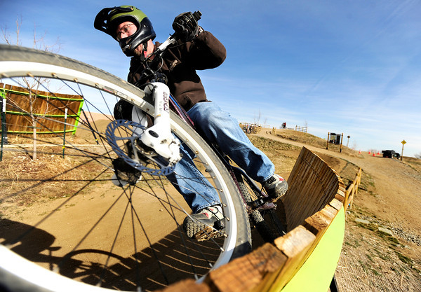 "Clark Ledbetter, of Superior, navigates a wall-ride on Wednesday, Feb. 1, at the Valmont Bike Park in Boulder. For a video on the proposed USA Cycling stop at Valmont go to  <a href=""http://www.dailycamera.com"">http://www.dailycamera.com</a><br /> Jeremy Papasso/ Camera"