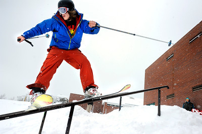 University of Colorado freshman Tucker Brumley grinds a rail on Friday, Feb. 3, at New Vista High School in Boulder. For a video of the rail jam go to www.dailycamera.com Jeremy Papasso/ Camera