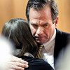 "District Attorney Stan Garnett hugs Elizabeth Roach after hearing the judges verdict during the final day of Kevin McGregor's murder trial on Thursday, Feb. 2, at the Boulder County Justice Center in Boulder. McGregor was convicted of 1st-degree murder, felony murder, and aggravated robbery and sentenced to life in prison with no possibility of parole. For a video interview with Elizabeth Roach and Stan Garnett and photo gallery of the last day of the trial go to  <a href=""http://www.dailycamera.com"">http://www.dailycamera.com</a> <br /> Jeremy Papasso/ Camera"
