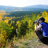 "Melissa Carmon, of Ft. Collins, takes a photograph of the changing fall foliage on the Peak to Peak Scenic Byway near Nederland. For more photos and video of the changing colors go to  <a href=""http://www.dailycamera.com"">http://www.dailycamera.com</a><br /> Jeremy Papasso/ Camera"