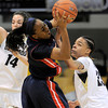 Colorado's Chucky Jeffery (left) pressures Arizona's Davellyn Whyte (right) during their basketball game at the University of Colorado in Boulder, Colorado February 9, 2012. CAMERA/MARK LEFFINGWELL