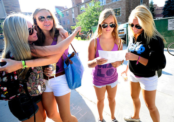 "CUFIRST199.JPG Heather Hagan, left, hugs friend Maggie Roganon as Sydney Pratt and Shayna Kerry, at right, consult a map to find their class on Monday the first day of classes at CU. Kerry said of their map search, ""We are sophomores and we are still lost.""<br /> <br /> Paul Aiken / The Camera / August 27, 2012."