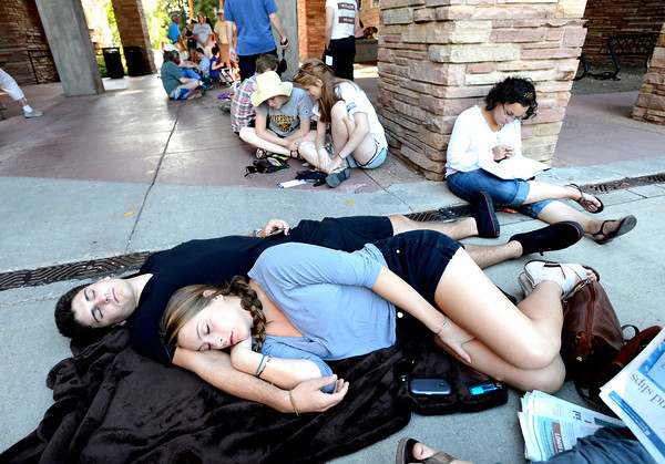 OBAMA2.jpg University of Colorado students Joey Miller and Julia Hirsch sleep in line on the CU Boulder Campus as the crowds wait for the appearance of President Barak Obama.<br /> Photo by Paul Aiken / The Daily Camera / September 2, 21012