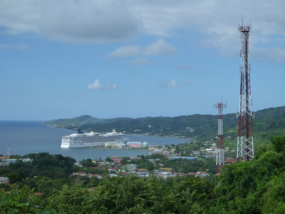 Another cruise ship in Roatan, Honduras.