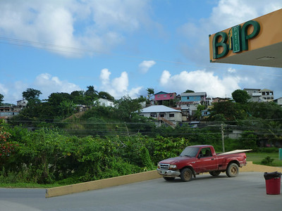 Colorful houses in Roatan, Honduras.
