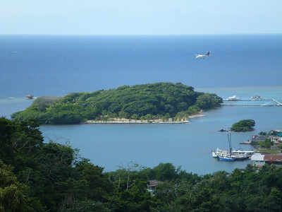 A plane about to land at the airport in Roatan, Honduras.