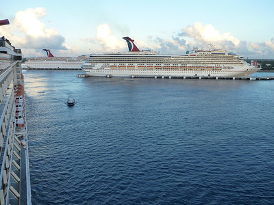 Three Carnival cruise ships in Cozumel, Mexico.
