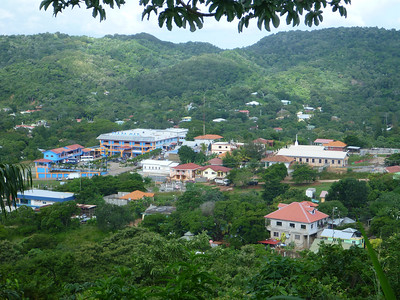 Colorful buildings in Roatan, Honduras.