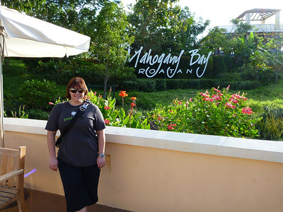 Getting off the ship at Mahogany Bay, Roatan, Honduras.r