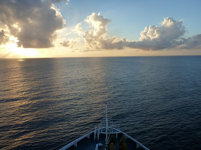The Carnival Ledgend sails into the sunset after leaving Cozumel, Mexico.