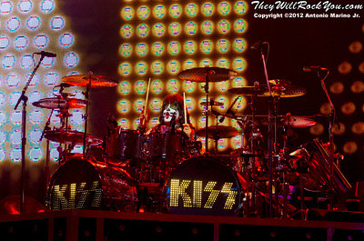 Eric Singer of KISS performs at the Nikon Jones Beach Theater on September 22, 2012