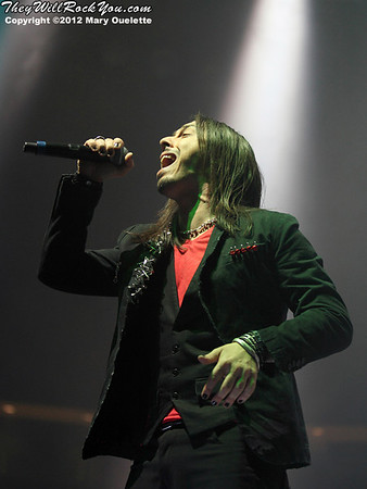 Andrea Ferro of Lacuna Coil performs at 'Gigantour' on January 29, 2012 at the Tsongas Center in Lowell, Massachusetts