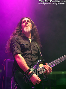 Cristiano Migliore of Lacuna Coil performs at 'Gigantour' on January 29, 2012 at the Tsongas Center in Lowell, Massachusetts