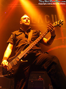 Marco Coti Zelati of Lacuna Coil performs at 'Gigantour' on January 29, 2012 at the Tsongas Center in Lowell, Massachusetts