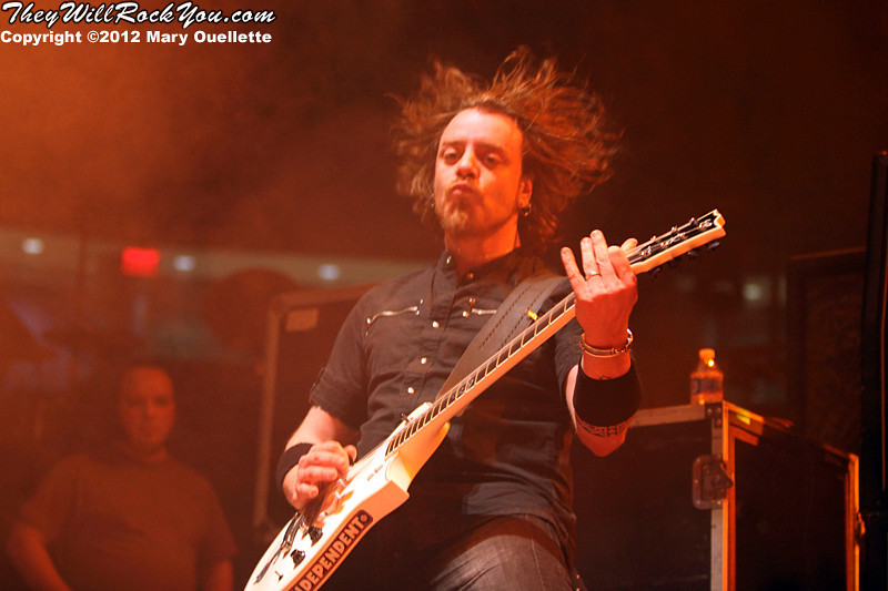 Marco 'Maus' Biazzi  of Lacuna Coil performs at 'Gigantour' on January 29, 2012 at the Tsongas Center in Lowell, Massachusetts