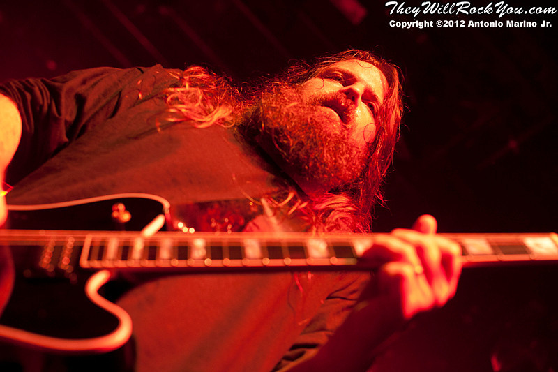 """Lamb of God's Mark Morton performs on January 24, 2012 during the record release party for """"Resolution"""" at Irving Plaza in New York, NY"""