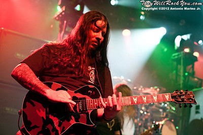 """Lamb of God's Willie Adler performs on January 24, 2012 during the record release party for """"Resolution"""" at Irving Plaza in New York, NY"""