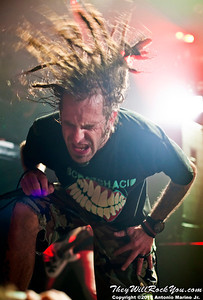 "Lamb of God's Randy Blythe performs on January 24, 2012 during the record release party for ""Resolution"" at Irving Plaza in New York, NY"