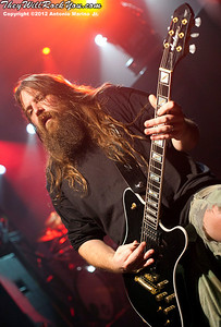 "Lamb of God's Mark Morton performs on January 24, 2012 during the record release party for ""Resolution"" at Irving Plaza in New York, NY"