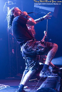 """Lamb of God's Randy Blythe performs on January 24, 2012 during the record release party for """"Resolution"""" at Irving Plaza in New York, NY"""