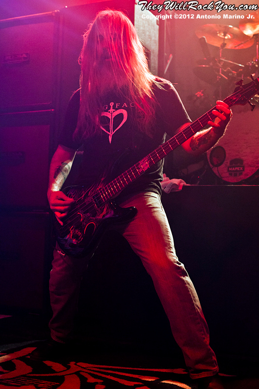 """Lamb of God's John Campbell performs on January 24, 2012 during the record release party for """"Resolution"""" at Irving Plaza in New York, NY"""