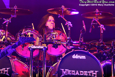 Shawn Drover of Megadeth performs on January 29, 2012 on 'Gigantour' at the Tsongas Center in Lowell, Massachusetts