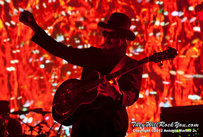 """Les Claypool of Primus performs on October 12, 2012 during the kickoff of their """"Primus 3D"""" tour at the Mid-Hudson Civic Center in Poughkeepsie, NY"""