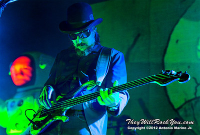 "Les Claypool of Primus performs on October 12, 2012 during the kickoff of their ""Primus 3D"" tour at the Mid-Hudson Civic Center in Poughkeepsie, NY"