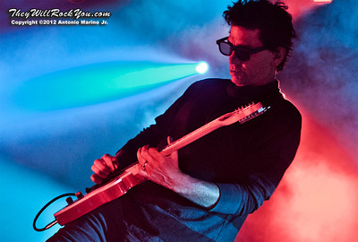 """Larry LaLonde of Primus performs on October 12, 2012 during the kickoff of their """"Primus 3D"""" tour at the Mid-Hudson Civic Center in Poughkeepsie, NY"""
