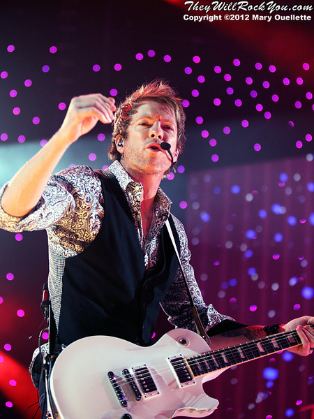 Joe Don Rooney of Rascal Flatts performs on January 27, 2012 during their 'Thaw Out' tour at the Dunkin Donuts Center in Providence, RI.