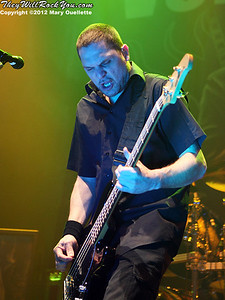 Anders Kjølholm of Volbeat performs at 'Gigantour' on January 29, 2012 at the Tsongas Center in Lowell, Massachusetts