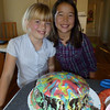 Tessa and Erin make a fancy cake