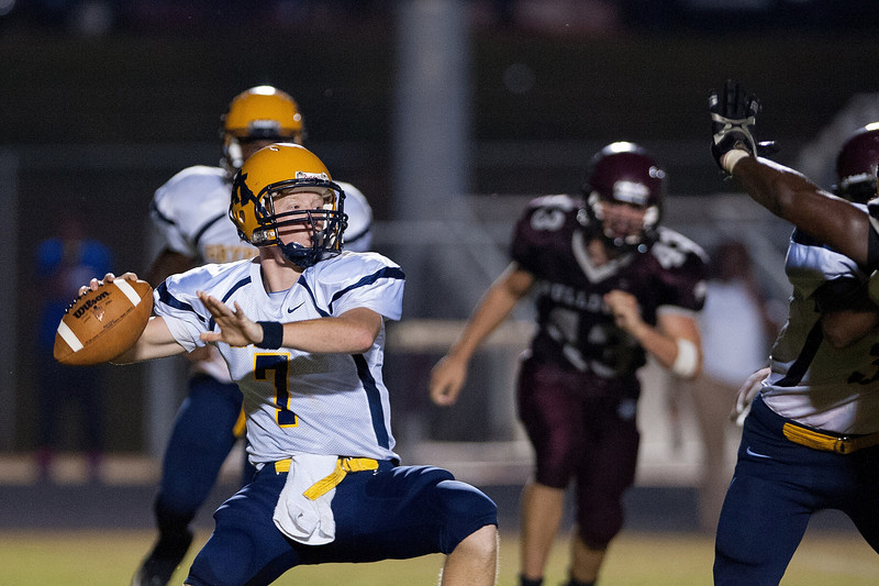 Rocky Mount James Smith #7 drops back to pass during to nights game.Rocky Mount defeats Nash Central 13-6 in Nashville North Carolina.
