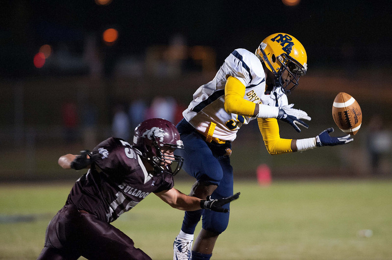 Nash Central Tyler Hale #15 breaks up the pass to Rocky Mounts receiver during to nights game.Rocky Mount defeats Nash Central 13-6 in Nashville North Carolina.