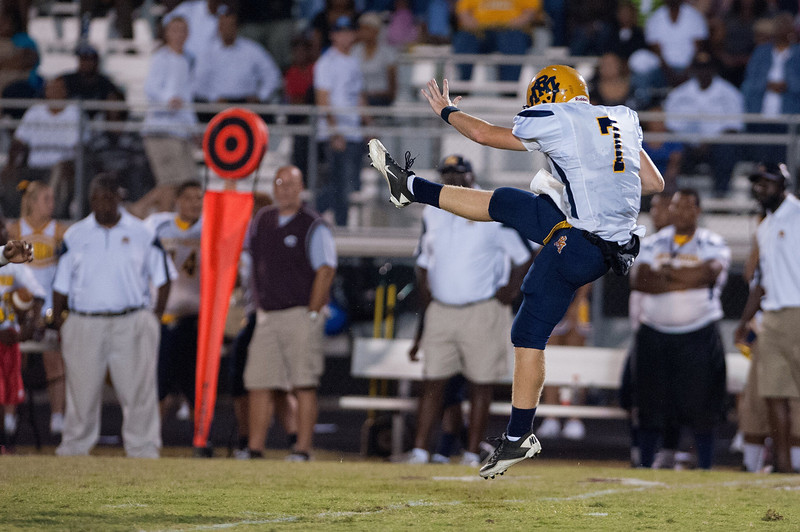 Rocky Mount Punts on 4th down during to nights game.Rocky Mount defeats Nash Central 13-6 in Nashville North Carolina.