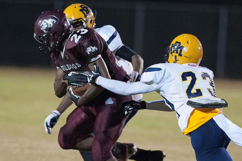 Rocky Mount Dewayne Moore #23 and Nash Central Jarius Richardson #23 during to nights game.Rocky Mount defeats Nash Central 13-6 in Nashville North Carolina.