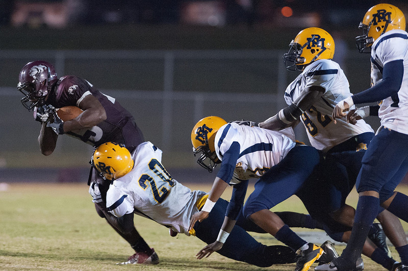 Rocky Mount Michael Hines #20 makes the tackle during to nights game.Rocky Mount defeats Nash Central 13-6 in Nashville North Carolina.