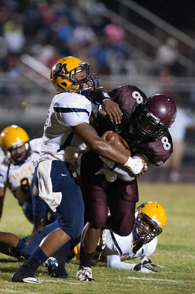 Nash Central QB stopped in the backfield during to nights game.Rocky Mount defeats Nash Central 13-6 in Nashville North Carolina.