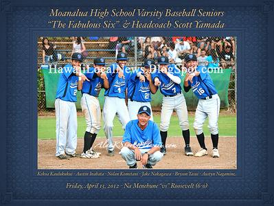 "04-13-12 MOHS Varsity Boys Baseball Team ""vs"" Roosevelt Rough Raiders (6-0) and Senior Night"